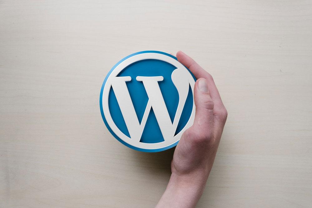 WordPressと手のイメージ